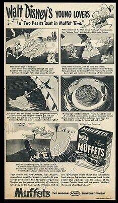 1948 Walt Disney Young Lovers Melody Time art Quaker Muffets cereal ad