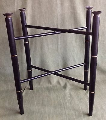 Vintage Black Wood Tole Tray Stand w/ Single Gold Painted Band