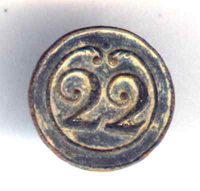 Cincin19,Button 22 th line Infantry French army,Napoleonic Peninsular War,16mm