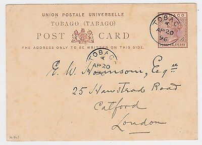 1896 TOBAGO SIDEWAY A QV 1½d POSTAL STATIONERY PC w/RARE POSTMARK- LONDON