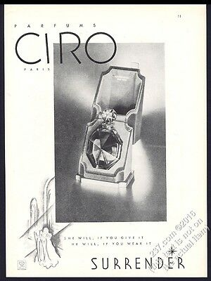 1933 Ciro Surrender perfume bottle and box photo vintage print ad