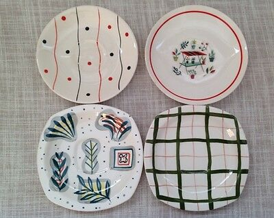 Four 1950s Saucers Midwinter Primavera & Homeweave by Jessie Tait Crown Ducal