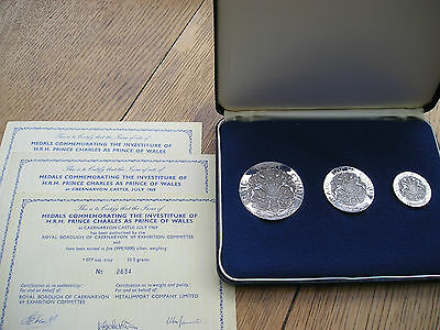 Excellent Set Of Silver Hrh Prince Charles Investiture Medallions
