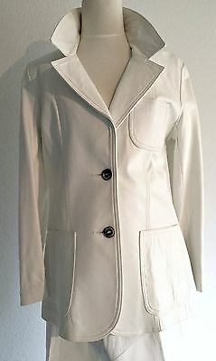 Vintage WHITE LEATHER SUIT Pants Jacket Blazer~DISCO NIGHT FEVER~12