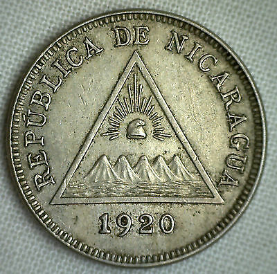 1920 Nicaragua 5 Centavos Extra Fine Five Cents XF Coin KM# 12