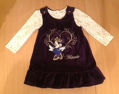 baby girl Minnie Mouse pinafore dress and top age 12-18 months
