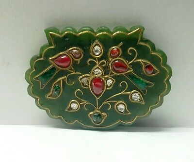 Mughal Style Old Green Jade Pendant Gem Stones Studded Gold Inlay Hand Carved