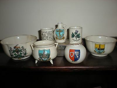 Collection of 7 items of Goss crested China -  varied crests