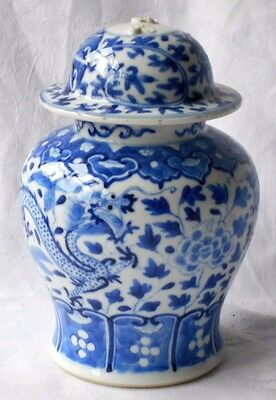 C19Th Chinese Blue And White Jar And Cover Decorated With Dragons And Pearl