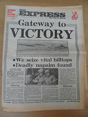 """FALKLANDS WAR ~ """"GATE WAY TO VICTORY""""  DAILY EXPRESS ~ 2nd JUNE 1982"""