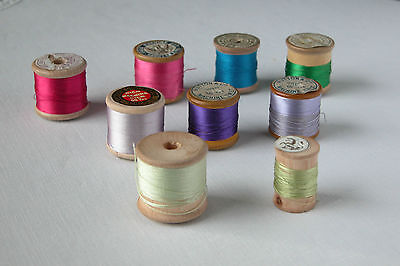 8 Old Wooden Reels Of Pure  Silk Thread