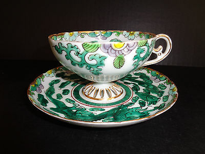 RARE Antique EGGSHELL PORCELAIN TEA CUP & SAUCER GREEN DRAGON Hand Painted