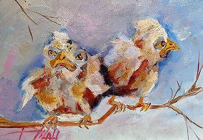 Delilah Grumpy birds original whimsical oil painting art 5x7