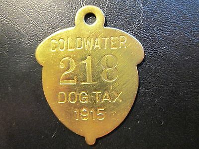 1915 Coldwater Calif. Dog Tax License Tag