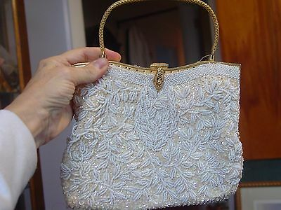 Vintage White Beaded Purse with Metal Frame