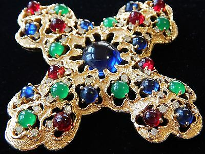 Vintage RARE JOMAZ Gold Blue Green Red Crystal Crucifix Cross Brooch Pin Pendant