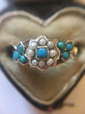 Victorian Antique Yellow Gold Pearl And Turquoise Ornate Detail Stunning Ring