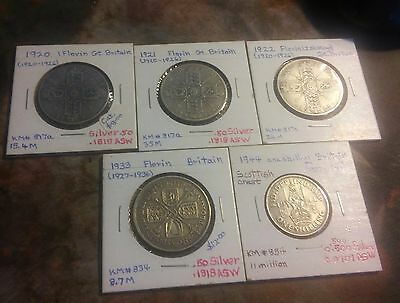 Great Britain  LOT OF 5  Silver Coins - One Florin - King George V -((59))