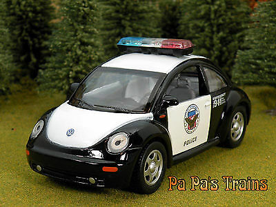 Die Cast New VW Beetle Police Car Small G Scale 1:32 by Superior
