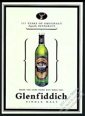 1998 Glenfiddich Scotch Whisky bottle photo 111 years of obstinacy vintage ad