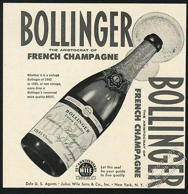 1952 Bollinger Brut Champagne 1945 bottle photo vintage print ad