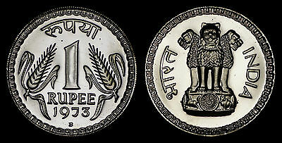 India 1 Rupee 1973-B (Gem Proof) *only 7,567 Minted*