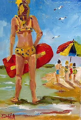 Delilah beach girl seascape original oil painting art impressionism 7x5 figurati