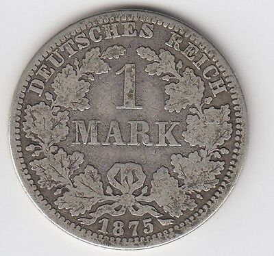 1875 Germany One 1 Mark Silver World Coin