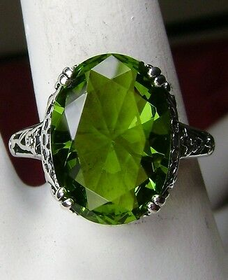 5ct Oval Cut*Peridot* Sterling Silver Victorian/Edwardian Filigree Ring Size 7.5