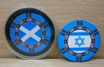 Scottish/israeli Flag Poker- Brand New Casino Chip Card Guard/protector