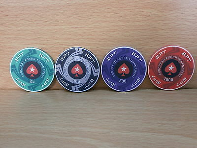 4 Pokerstars Ept European Poker Tournament Ceramic Casino Chips
