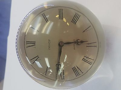Vintage  Lucite Brass Round Clock Works Running Imhof 15 Jewels