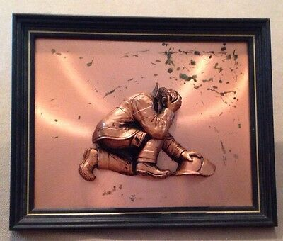 """Vintage Fireman Heroes Dimensional Copper Plaque Crafted by E.Helton 16x13"""""""