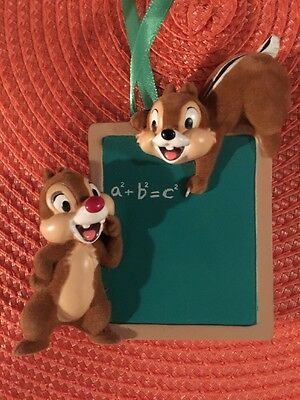 Disney Parks Chip and Dale with Teacher Chalkboard Figurine Ornament NEW 2016