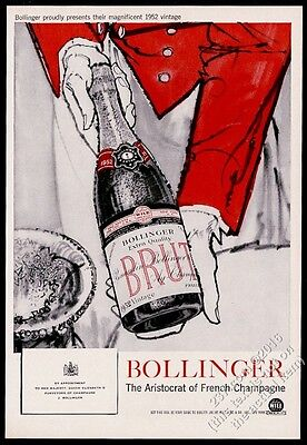 1957 Bolliinger Brut Champagne 1952 bottle photo waiter art vintage print ad