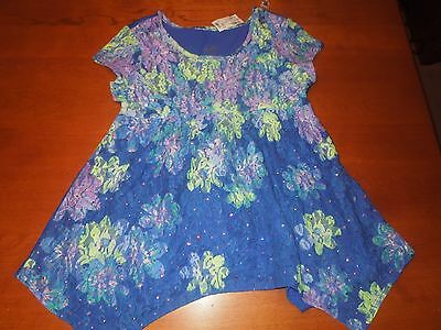NWT Girls JUSTICE S/S Lace Top Blue/Green/Purple Flowers w/ Sequins SZ 14