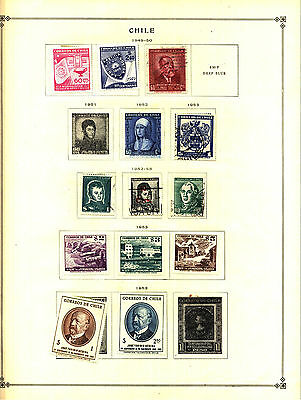CHILE 1949-1968 Lot of 75 Stamps Collection on Scott Album Pages