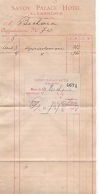Egypt Old Savoy Palace Hotel Alexandrie Bill With Label 1918