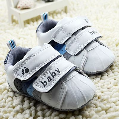 Toddler baby boy girl white crib shoes sports soft bottom shoes size 12-18months