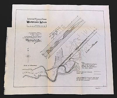 1905 Map Improving Warroad Harbor Minnesota Lake of the Woods