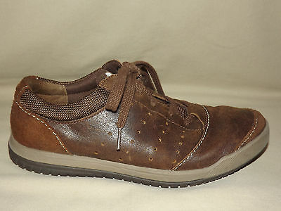 "Mens Gently Worn ""clarks"" Brown Distressed Leather And Suede Size 7 1/2 M"