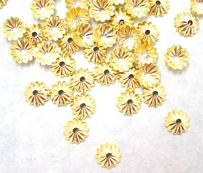100 Gold Plated Scalloped Bead Caps Beadcaps 6MM