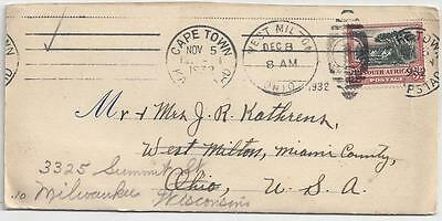 1932 Cape Town South Africa Cover to Ohio, forwarded to Wisconsin - See 4 Scans