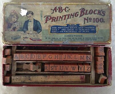 Antique Printing Block Letters Numbers Children's Vintage Toy Cute Box