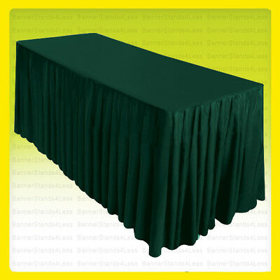 6' Fitted Table Skirt Cover Wedding Banquet w/Top Topper Tablecloth HUNTER GREEN