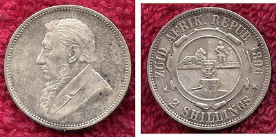 1896 Silver Two Shilling from South Africa. Nice Coin