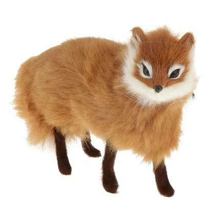 Standing Fox Plush Toy 16cm Room Ornament Crafted Kid Christmas Gift Yellow
