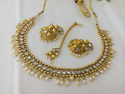 New Indian Fashion Jewelry Necklace Earring Bollywood Ethnic Gold Traditional