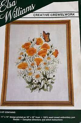 Elsa Williams Poppies & Daisies CREWEL Embroidery KIT