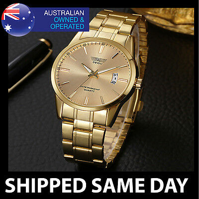 CLASSIC MENS GOLD FASHION DRESS WATCH By SWIDU Army Military Water Resistant 32